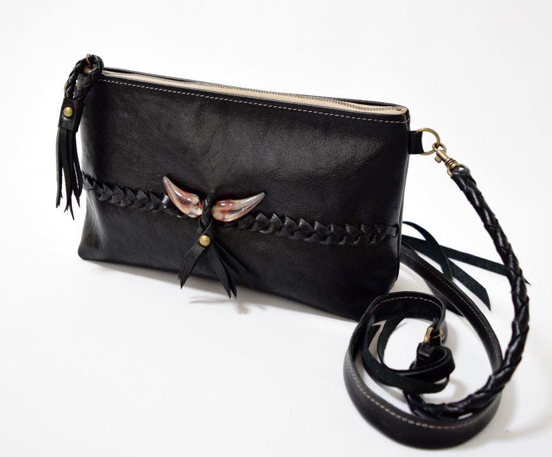 画像1: 【ショルダーバッグ】 stylish shoulder bag(ブラック)HiDAMARi glassコラボ (1)