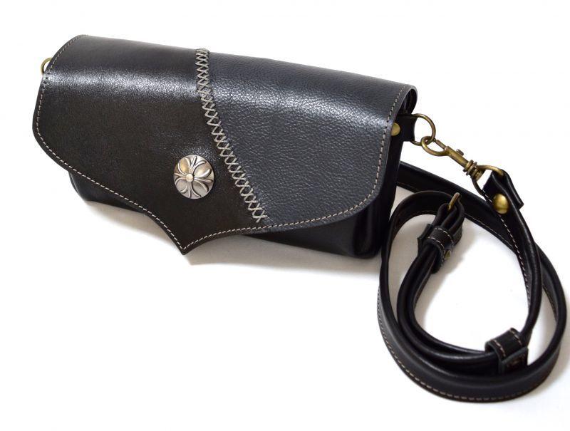画像1: 【ウォレットバッグ】 wallet bag(ブラック × D・ネイビー)/ ロング・ショートベルト2本セット/ ☆1点モノ☆ (1)